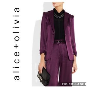 Alice & Olivia Sunday Satin Blazer Plum